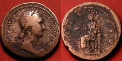 Ancient Coins - SABINA AUGUSTA AE as. Concordia seated left.