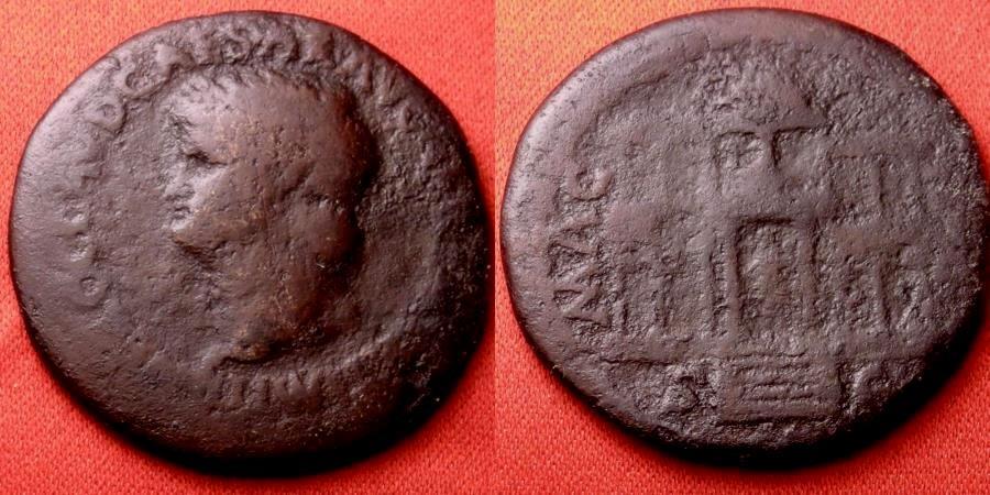 Ancient Coins - NERO AE orichalcum 'laureate' dupondius. Lugdunum mint, 64-65 AD. MAC AVG, Macellum Magnum, Nero's great provision market