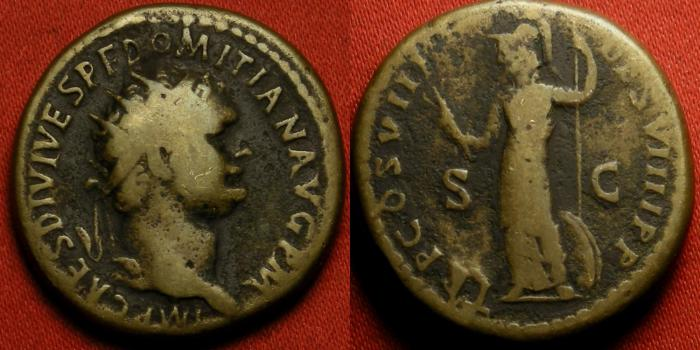 Ancient Coins - DOMITIAN AE orichalcum dupondius. 82 AD. Minerva advancing, holding javelin & shield.