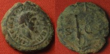 Ancient Coins - TRAJAN AE quadrans. Club of Hercules, draped bust of Hercules.