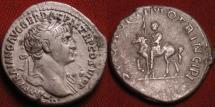 Ancient Coins - TRAJAN AR silver denarius. Emperor on horseback, carrying spear. Scarce & attractive