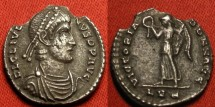 Ancient Coins - JULIAN II AR silver siliqua. Lugdunum mint. Victory walking left, holding wreath & palm.