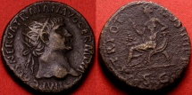Ancient Coins - TRAJAN AE dupondius. Abundantia seated on chair of cornucopiae. Early issue, 101-102 AD.