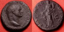 Ancient Coins - VESPASIAN AE dupondius. Rome, 72-73 AD. FORTVNA REDVCI, Fortuna standing.