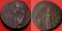 Ancient Coins - CLAUDIUS AE as. Constantia standing, holding spear. Gallic barbarous or provincial imitation. 22mm, 5.0g. Interesting style, accurate legend.