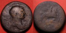 Ancient Coins - TRAJAN AE sestertius. Trajan riding right on horseback, spearing Dacian. Scarce
