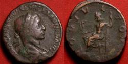 Ancient Coins - SEVERUS ALEXANDER AE sestertius. IOVI VLTORI, Jupiter seated, holding Victory & scepter.