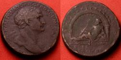 Ancient Coins - TRAJAN AE sestertius. AQUA TRAIANA, River god reclining in arched grotto
