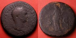 Ancient Coins - DOMITIAN AE orichalcum sestertius. Pax standing. Scarce post-accession issue using same reverse type as Titus
