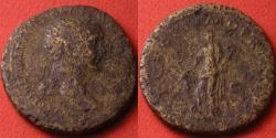 Ancient Coins - TRAJAN AE dupondius. SPQR OPTIMO PRINCIPI, Pax standing, foot on head of Dacian captive.