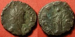 Ancient Coins - GALLIENUS AE antoninianus. Rome mint. UBERITAS standing, holding purse & cornucopia.