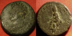 Ancient Coins - LUCIUS VERUS AE 23mm. Samosata mint. Tyche seated on rock, River God Euphrates swimming below. Scarce.