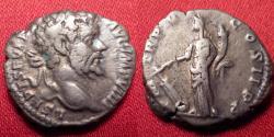 Ancient Coins - SEPTIMIUS SEVERUS AR silver denarius. Fortuna standing, holding rudder. 197 AD