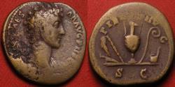 Ancient Coins - MARCUS AURELIUS CAESAR AE orichalcum dupondius. Rome, 142 AD. PIETAS AVG, four sacrificial implements.