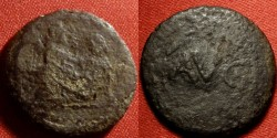 Ancient Coins - ROMAN SPINTRIA (Erotic Tessera). Time of Tiberius. Heterosexual scene with male on top. Reverse scene with AVG in wreath - only known from 1 example. Unique. LASCIVA NOMISMATA