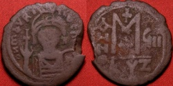 Ancient Coins - MAURICE TIBERIUS AE large follis. Cyzicus mint, regnal year 8. 30mm.