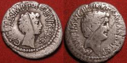 Ancient Coins - OCTAVIAN & MARCUS ANTONIUS (Marc Antony) Reconciliation issue dual portrait denarius. Ephesus mint, 41 BC