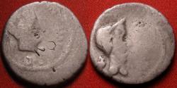 Ancient Coins - MARCUS ANTONIUS (Marc Antony) & JULIUS CAESAR dual portrait AR silver denarius. Gaul, 43 BC. Rare.
