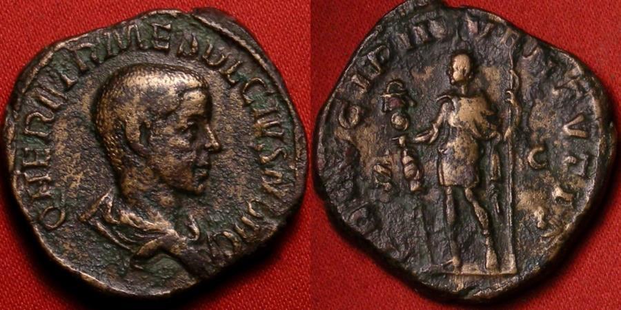 Ancient Coins - HERENNIUS ETRUSCUS, as Caesar, AE sestertius. PRINCIPI IVVENTVTIS, Herennius standing, holding standard & spear.