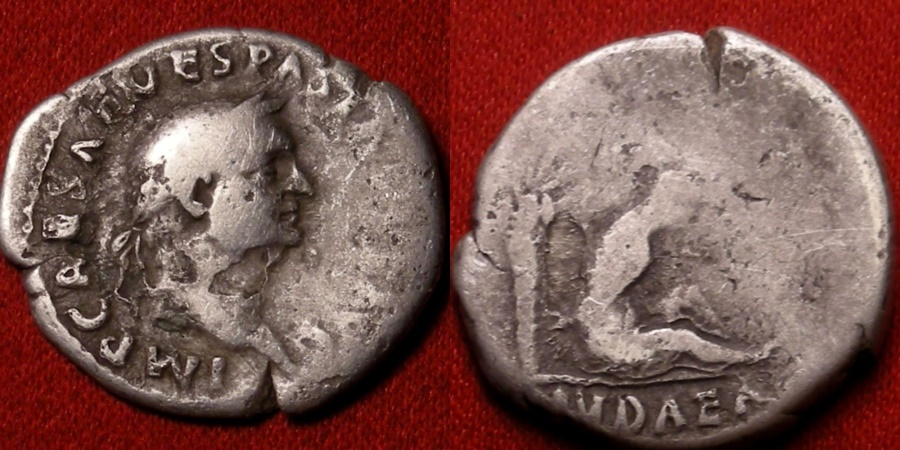 Ancient Coins - VESPASIAN AR silver denarius. IVDAEA, Jewess seated beneath palm tree. Rare.