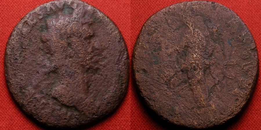 Ancient Coins - NERVA AE as. Libertas standing, holding pileus & scepter.
