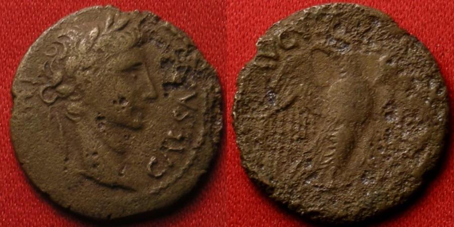 Ancient Coins - AUGUSTUS AE quadrans. Lugdunum mint, 10 BC. Eagle with wings spread. Rare.