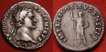Ancient Coins - DOMITIAN AR silver denarius. Minerva standing, holding scepter.
