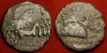 Ancient Coins - AUGUSTUS AR silver denarius. Colonia Patricia, Hispania, 18 BC. Eagle, wreath & consular robes, Triumphal quadriga.