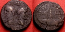 Ancient Coins - AUGUSTUS & AGRIPPA AE Dupondius, Nemausus Mint. Crocodile, chained to palm branch