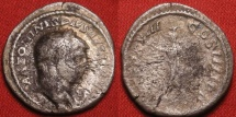 Ancient Coins - CARACALLA AR silver denarius. Rome, 213 AD. Turreted Serapis standing, raising hand in salute