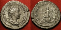 Ancient Coins - GORDIAN III AR silver denarius. Romae Aeternae, Roma seated on shield. Excellent