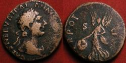 Ancient Coins - TRAJAN AE as. Early issue, 98 AD. Victoria advancing left, holding shield.