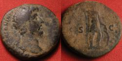 Ancient Coins - MARCUS AURELIUS AE orichalcum dupondius. Mars standing, with spear & shield