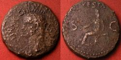 Ancient Coins - CALIGULA AE as. Struck 37-38 AD. Vesta seated, holding patera & sceptre
