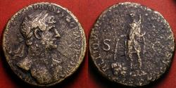 Ancient Coins - HADRIAN AE sestertius. Rome's 'bailout commemorative': The Burning of the debt records! Hadrian setting fire to debt records & promissory notes. Rare and historically interesting