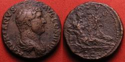 Ancient Coins - HADRIAN AE as. Rome, 134-138 AD. NILUS reclining, hippopotamus at his feet. Hadrian's travel series.