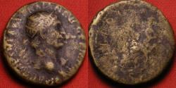Ancient Coins - TRAJAN AE dupondius. Abundantia seated on chair of cornucopiae. Early issue, 101-102 AD.