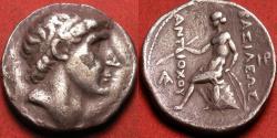 Ancient Coins - ANTIOCHUS I SOTER AR silver tetradrachm. Seleucia on the Tigris. Apollo on omphalos