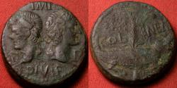 Ancient Coins - AUGUSTUS & AGRIPPA AE dupondius, Nemausus Mint. Crocodile, chained to palm branch. 13 grams