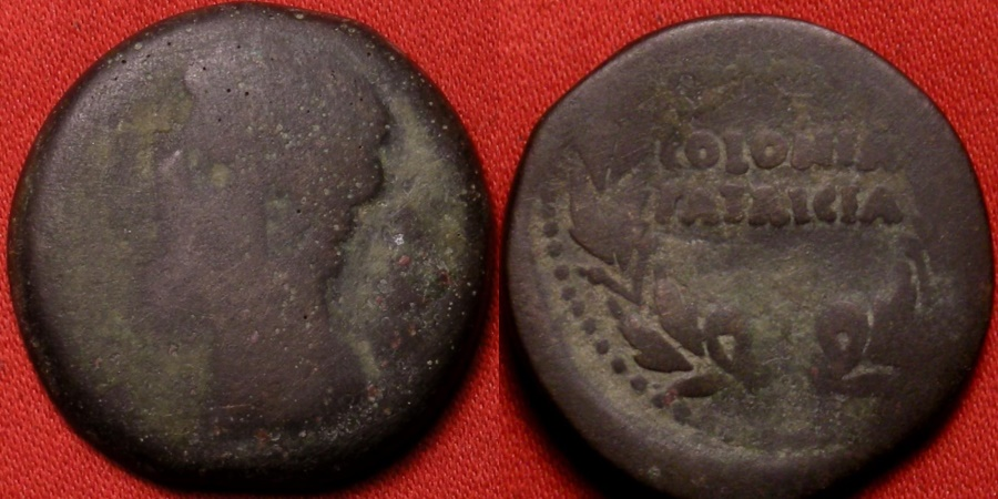 Ancient Coins - AUGUSTUS AE as. 25mm leaded bronze. Struck at COLONIA PATRICIA, Spain. City name in wreath