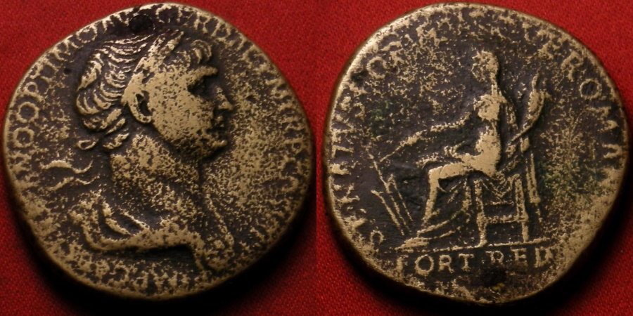 Ancient Coins - TRAJAN AE sestertius, Fortuna seated, holding rudder & cornucopia. FORT RED in exergue.