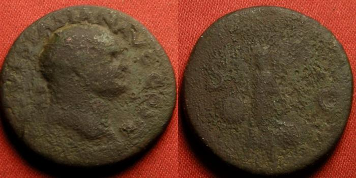 Ancient Coins - VESPASIAN AE as. Lugdunum mint, 77-78 AD. Victoria advancing, holding shield inscribed SPQR.