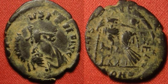 late 4th century bronze overstrike arcadius honorius valentinian