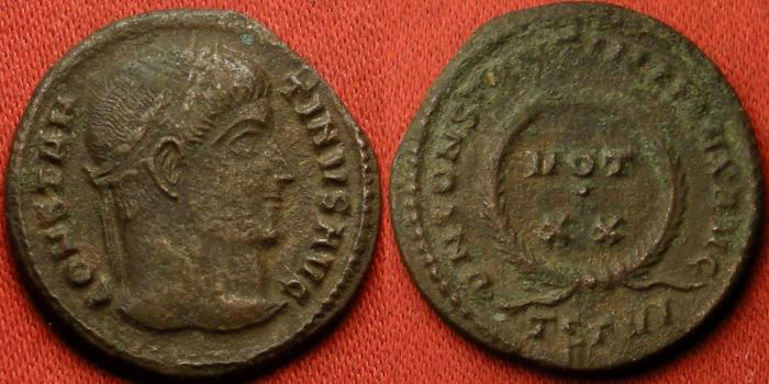 Ancient Coins - CONSTANTINE I THE GREAT AE3. Thessalonica mint, VOT XX in wreath