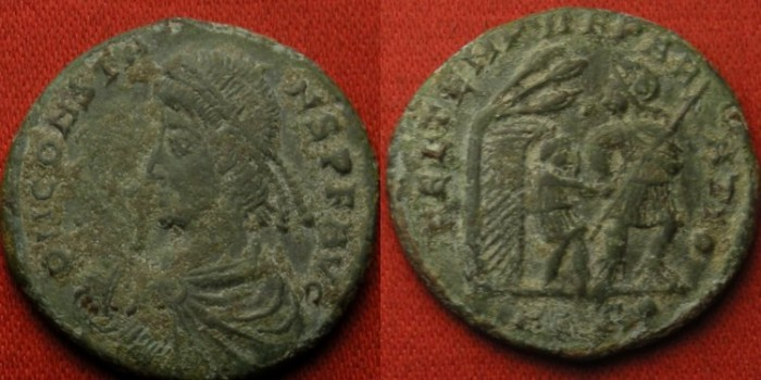 Ancient Coins - CONSTANS AE 22mm AE2. Aquileia mint, FEL TEMP EPARATIO. Soldier leading small figure from hut.