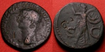 Ancient Coins - CLAUDIUS AE as. Minerva advancing right, holding spear & shield. 'D' countermark