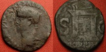 Ancient Coins - CLAUDIUS AE as. Gallic/British imitative, pairing a Claudius obverse with a PROVIDENT altar type for Divus Augustus. Rare and interesting.