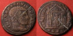 Ancient Coins - MAXENTIUS AE large follis. CONSERVATORES VRB SVAE, Roma seated in hexastyle temple. Rome mint.