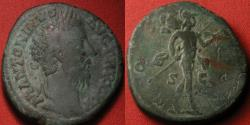 Ancient Coins - MARCUS AURELIUS AE sestertius. Rome, 171 AD. COS III, Mars advancing right, carrying spear & trophy.