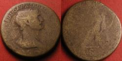 Ancient Coins - TRAJAN AE sestertius, Fortuna seated, holding rudder & cornucopia.